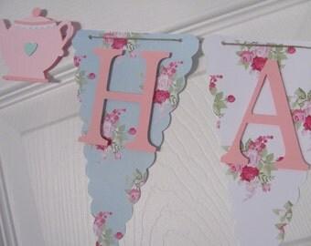 Tea Party Birthday Banner, Happy Birthday Banner, Happy Birthday, Girl Banner 1st Birthday