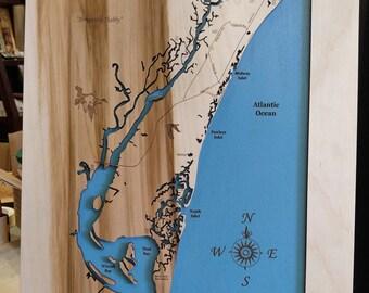 Pawleys Island South Carolina wooden laser engraved coastal map wall hanging