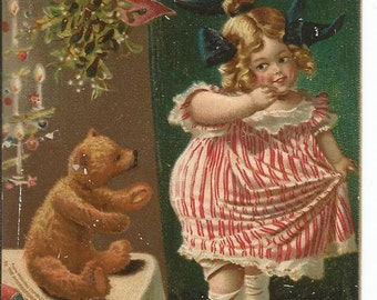 Antique 1907 Made in German Christmas Girl and Teddy Bear Postcard