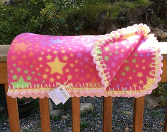 Hot Pink Baby Star Double Sided Fleece Blanket with Crochet Trim