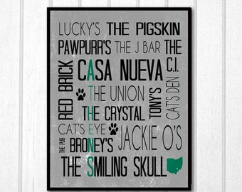 Athens Ohio Bars Ohio University Typography Print