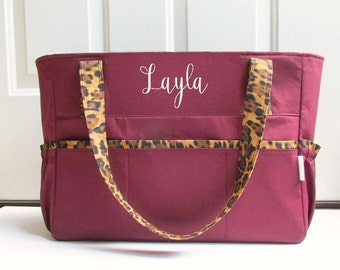 Personalized Diaper Bag in Burgundy and Cheetah for Boy or Girl Choose Your Lining Color 11 Pockets Zipper Closure