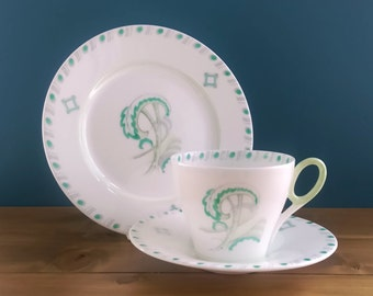 Shelley Art Deco Tea Cup, Saucer and Side Plate in the Stylised Tree Pattern