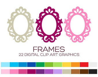 Digital Frame Clipart Digital Frames and Borders Label Clipart Digital Labels For Jars Frames Vintage Wedding Clipart Doodle Frames - A00183