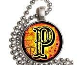 "Letter ""P"" Art Pendant, Alphabet Resin Pendant, Vintage Initial  Photo, Silver Nickel Coin Charm Necklace"