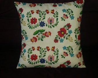 "folk art, hungarian matyo folk design ,flower, decorative pillow, cushion cover 16"" x 16"""