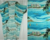 Rayon Kimono Summer Resort Hotel Palm Trees Print Beach Duster Cover Up One Size