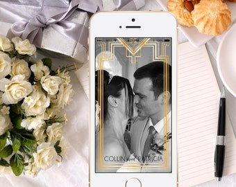 Snapchat Geofilter | Great Gatsby inspired filter | wedding social media snapchat filter | 20s Art Deco Wedding