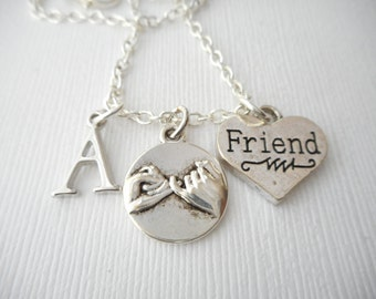 Friend, Pinky Promise- Initial Necklace/ Bestie, Gift Ideas, Birthday Gift, bff jewelry, Personalized Friend, gift for bff