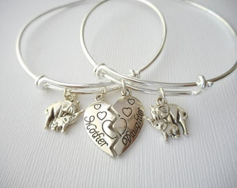 2 mother daughter, Elephants Bangles (Set)/ Mother of the bride gift, Jewelry for mom, Mother and daughter, birthday gift, gift for her