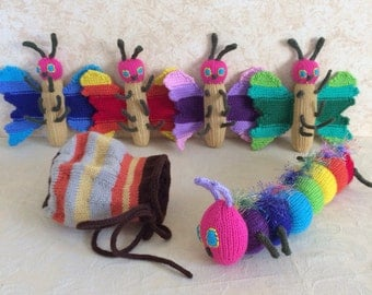 Rainbow Caterpillar and Rainbow Butterfly and Cocoon Set