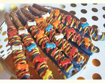 Paw Patrol chocolate dipped and drizzled pretzels one dozen