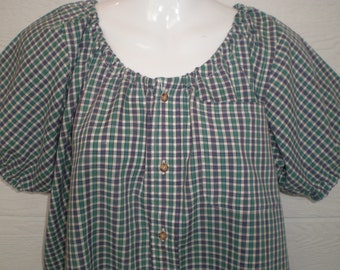 Peasant Blouse, ladies top, comfy shirt, upcycled from a men's shirt, 50 inch, Large, teal and purple plaid, short sleeve