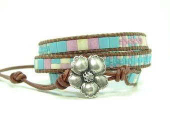 Multicolor Tila Beaded Leather Wrap Bracelet, Turquoise Blue & Rose Triple  Wrap, Boho Jewelry