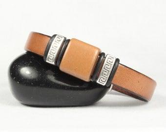 Tan Leather Bracelet Terra Cotta Bead Bracelet Magnetic Bracelet  CarolMade L32