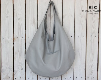 Grey leather tote, Slouchy leather bag, Vegan leather shoulder bag, Vegan Leather Bucket bag, Bags and Totes