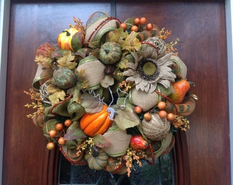 Fall/Thanksgiving Burlap and Mesh Wreath
