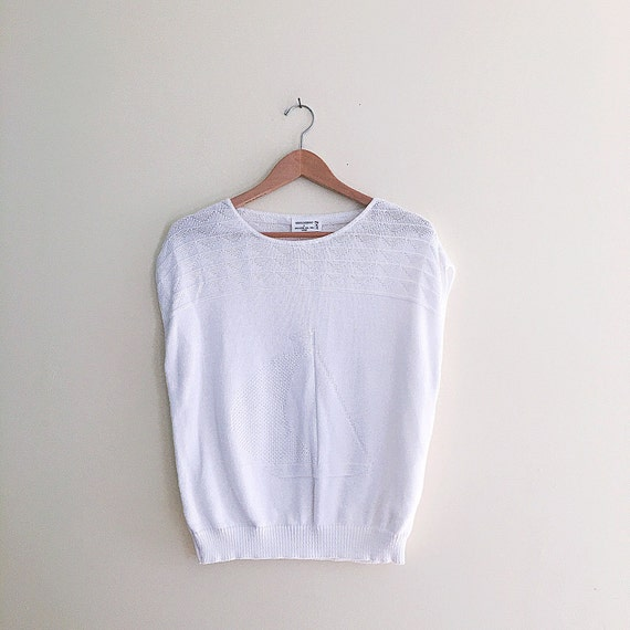 Vintage Nautical Sailboat Cropped Sweater // White Novelty Retro 80s Sweater Top // Short Sleeve Summer Jumper // Festival // Hipster