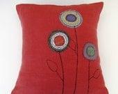 Red Orange Linen Appliqued Pillow