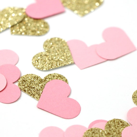"100 Pink + Gold Glitter - Heart Confetti - 1"" - Wedding. Bachelorette. Bridal Shower. Engagement Party. Baby Shower. First Birthday."