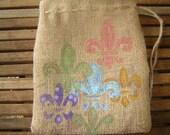 Set of 10 Beach Gift Favor Bags and 6 Fleur de Lis Gift bags