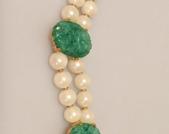 60s Vintage Faux PEARL and Faux JADE Bracelet Double Strand Old Store Stock