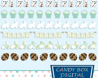 80% OFF SALE Easter Border Clipart With Easter Bunny, Chocolate Eggs, Basket Clip Art, And More - Commercial Use OK