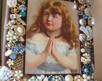 Vintage Jewelry Decorated Picture Frame