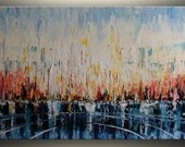 """24""""x48"""" Large Oil Painting Abstract Oil Painting Original Painting Abstract Art Painting Oil Painting Seascape, by Tatjana Large Wall Art"""