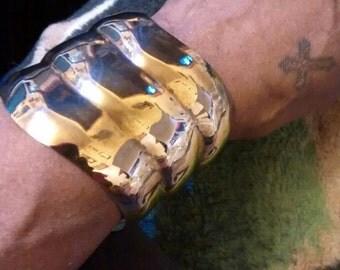 Brass Scalloped Statement Cuff Bracelet
