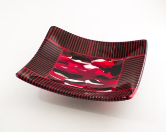Swooping Curves Art Glass Bowl, Decorative Tray, Unique Serving Dish, Black and Red Kitchen, Fused Glass, 3rd Anniversary Gifts for Couple