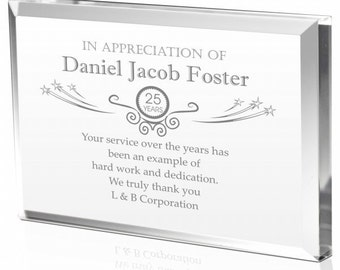 Personalized Clear Solid Acrylic Years of Service Plaque