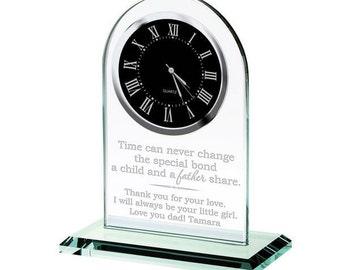 Engraved Glass Desktop Clock for Dad