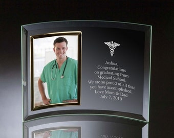 Engraved Doctor's Glass Photo Frame