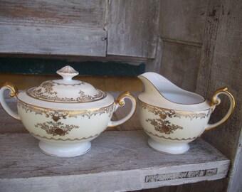 James Japanese China - Augusta Pattern - Sugar Bowl & Creamer