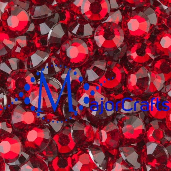 Dark Red Flat Back Round Resin Rhinestones Embellishment Gems C6
