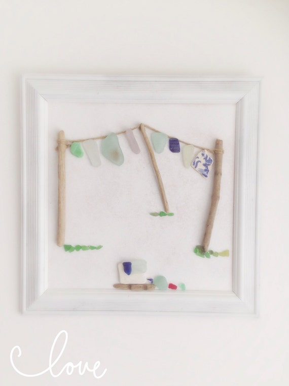 Wall Art Washing Line : Driftwood sea glass pottery washing line framed wall hanging