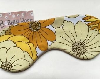 Sleep mask / vintage flower 1970s fabric / travel sleep mask / flower power/ eye mask / night mask