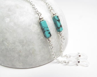 Silver Glasses Chain with Genuine Turquoise, Chain for Glasses Lanyard, Reading Glasses Chain, Eyeglass Chain, Eyeglass Holder Necklace