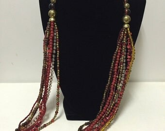 BOHO Multi-Strand Red Glass and Wood Necklace