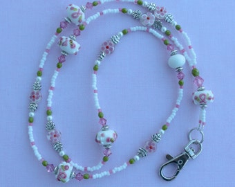 O O A K - Handmade Lampwork Glass Beaded Lanyard ID Badge Holder – PINK Ribbon PETALS - AW155