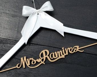 Wedding Hanger, Personalized Rustic Wedding Dress Hanger,  Custom Wood Bridal Last Name Hanger, Bridal Shower Gift CML004