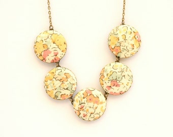 Liberty of London Five Button Fabric Necklace in Claire Aude Yellow