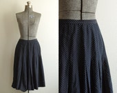 J.B.H. Navy Blue Polka Dot Silk Midi Skirt Size Medium