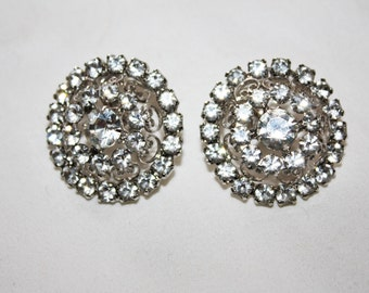 Vintage Rhinestone Earrings, Vintage Clip On Earrings, Bridal Wedding, 1950s Estate Jewelry