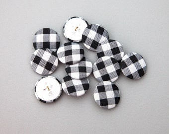 """12 Vintage 1 1/8"""" Large Fabric Covered Shank Buttons. Black, White and Grey Checked Design. Silver Metal Back and Shank Loop. Item 3791FC"""