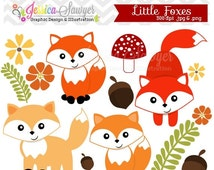 80% OFF - INSTANT DOWNLOAD, little fox clipart, woodland clip art, for personal use, commercial use, party supply, scrapbooking