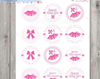 80% OFF - INSTANT DOWNLOAD, Tutu Baby Shower Printable Circles, Printable Cupcake Toppers, for baby shower, Tutu Party,  2 inch circles