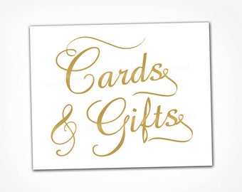 Gold Card Sign Wedding - Printable INSTANT DOWNLOAD - Gold Wedding Cards and Gifts Table Calligraphy Sign