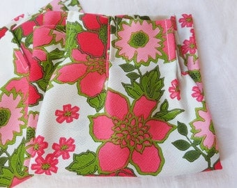 Vintage Mid Century Curtains Drapes X 2 Retro Floral Pinch Pleat Mod Pink Short